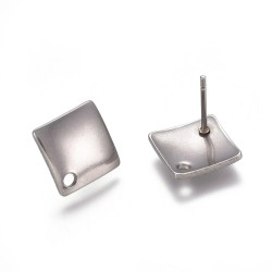 Stainless Steel Curved Rhombus Ear Stud 13,5 x 13,5 mm - 2 pcs