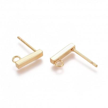 Stainless Steel Rectangle Ear Stud 10 x 2x 2 mm Golden Colour - 2 pcs