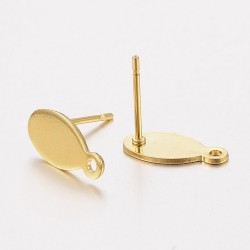 Stainless Steel Flat Plate Oval Ear Stud 12,5 x 6 x0,8 mm Golden Colour - 2 pcs