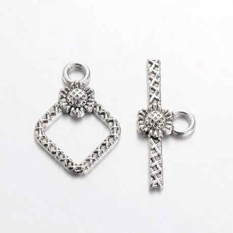 Rhombus Toggle Clasp with Flower 21x15x2 mm, Antique Silver Color Plated - 1 pc