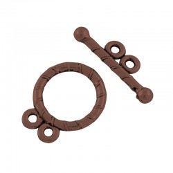 Flat Round Toggle Clasp 15,5x12x1,5 mm, Antique Copper Color Plated - 2 pcs