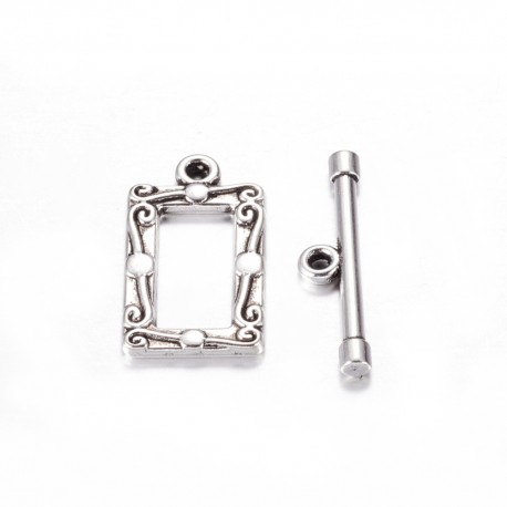 Bossed Rectangle Toggle Clasp 20x11,5 mm, Antique Silver Color Plated - 1 pc