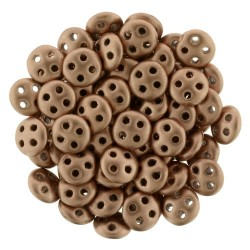 CzechMates QuadraLentil 4 Holes 6 mm Matte Metallic Bronze Copper - 5 g