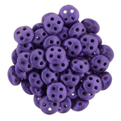CzechMates QuadraLentil 4 Holes 6 mm Metallic Suede Purple - 5 g