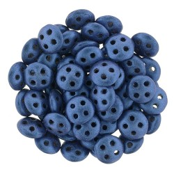CzechMates QuadraLentil 4 Holes 6 mm Metallic Suede Blue- 5 g