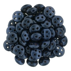 CzechMates QuadraLentil 4 Holes 6 mm Metallic Suede Dark Blue- 5 g