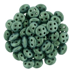 CzechMates QuadraLentil 4 Holes 6 mm Metallic Suede Light Green - 5 g