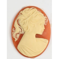 Oval Resin Cameo  40x30 mm Cherubs in Love  Ivory / Light Rose  - 1 pc