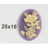 Oval Resin Cameo 25x18 mm Flower Ivory / Violet - 1 pc