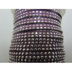 Alcantara Ribbon with Studs 5 mm Purple  - 50 cm