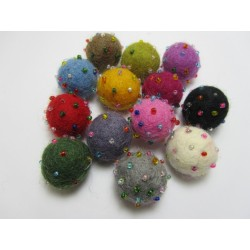 Felt  Ball with Beads 20 mm,  Mixed Colours  -  5 pcs