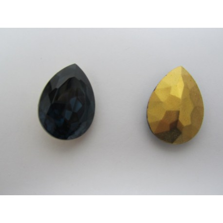 Drop Faceted  Glass Cabochon 25x18 mm Montana Sapphire   - 1 pc