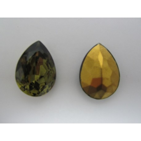 Drop Faceted  Glass Cabochon 25x18 mm  Black Diamond    - 1 pc