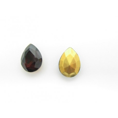 Drop Faceted  Glass Cabochon 18x13 mm   Madeira Topaz    - 1 pc