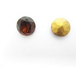 Round Faceted Glass Cabochon 18 mm Smoked Topaz - 1 pc