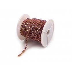 Rhinestone Chain 3,5 mm Purple/Gold Colour - 1 m