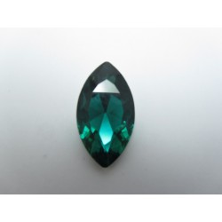 Horse Eye Faceted  Glass Cabochon 17x32  mm Emerald  - 1 pc