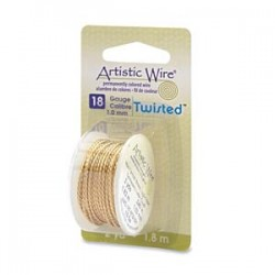Artistic Wire 1,02 mm (18 Gauge) Twisted Brass - Spool of 1,83 m (2 yds)