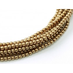 Glass Pearls  2 mm  Antique Gold  - 50 pcs