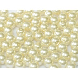 Glass Pearls  4 mm Cream  - 50 pcs