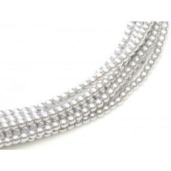 Perle Cerate in Vetro  4 mm  Platinum   - 50  Pz
