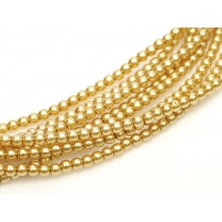 Perle Cerate in Vetro  4 mm  Light Gold   - 50  Pz