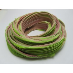 Shibori Silk Ribbon Green/Rose  - 10 cm