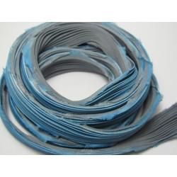 Nastro di Seta Shibori  Azzurro/Grigio  - 10 cm
