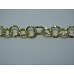 Round Aluminium Chain Diamond Cut 12 mm Gold Colour - 1 m