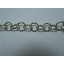 Round Aluminium Chain Diamond Cut 12 mm Silver Colour - 1 m