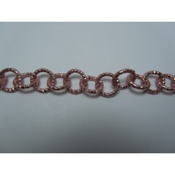 Round Aluminium Chain Diamond Cut 12 mm Pink - 1 m