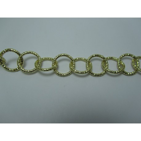 Round Aluminium Chain Diamond Cut 16 mm Light Gold Colour - 1 m