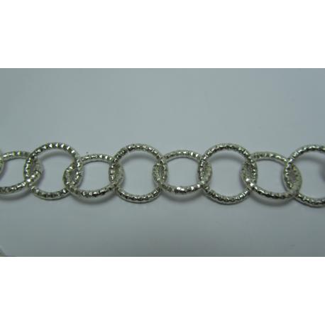 Round Aluminium Chain Diamond Cut 16 mm Silver Colour - 1 m