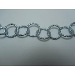 Catena Tonda  Alluminio Zigrinata  16 mm  Argento/Azzurro  -  1 m
