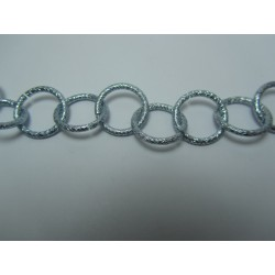 Round Aluminium Chain Grained 16 mm Silver/Blue - 1 m