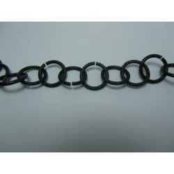 Round Aluminium Chain Grained 16 mm Black/Green - 1 m