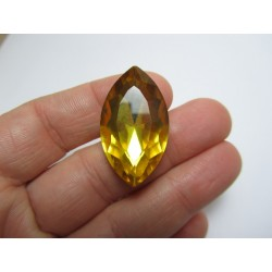 Horse Eye Faceted  Glass Cabochon 17x32  mm Topaz - 1 pc
