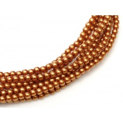 Glass Pearls  2 mm  Copper   - 50 pcs