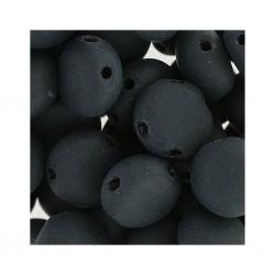 Candy Beads  8  mm  Jet Mat  - 20 pcs