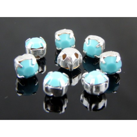 Chatons with setting  ss16  (3,8-4 mm) Turquoise   -  10 pcs