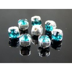 Chatons with setting  ss16  (3,8-4 mm) Blue Zircon    -  10 pcs