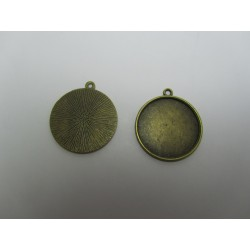 Round Pendant Cabochon Setting 28mm , Antique Bronze Color - 1 pc