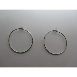 Brass Hoop Earings  20 mm,  Platinum Color Plated  - 2 pcs