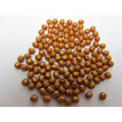 Fire Polished Faceted Round Beads  4 mm Gold Shine Brownish-Red   - 50 pcs