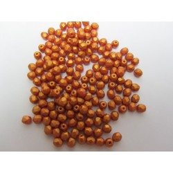 Fire Polished Faceted Round Beads  4 mm Gold Shine Brick-Red   - 50 pcs