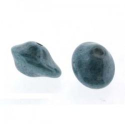 UFO Beads 7 x 11 mm Chalk White Baby Blue Luster - 10 pcs