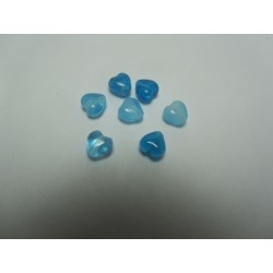 Heart Beads 6 mm varied Blue - 10 pcs