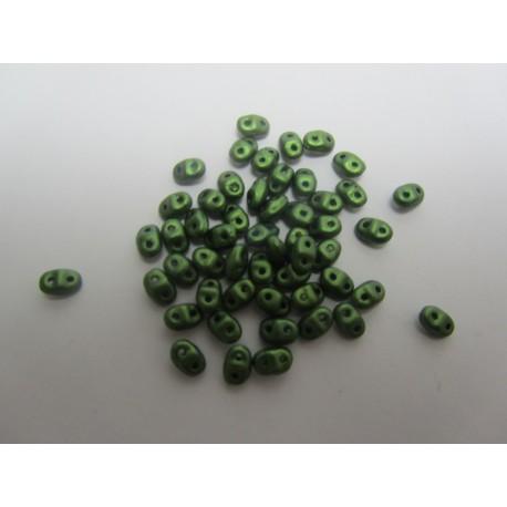Miniduo 2 x 4 mm Gold Shine Dark Olive Green   - 5 g