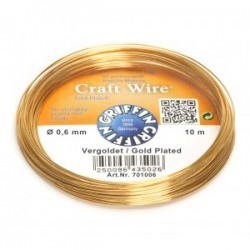 Griffin Copper Wire Craft Wire Gold Plated 0,6 mm - 10 m