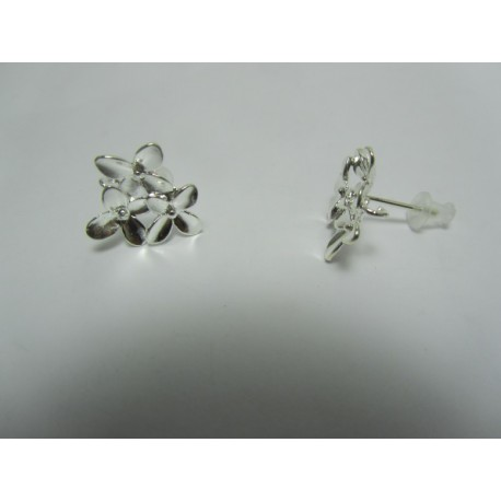Copper Ear-Pin Triple Flower  15x14   mm,   Silver Color Plated  - 2 pcs